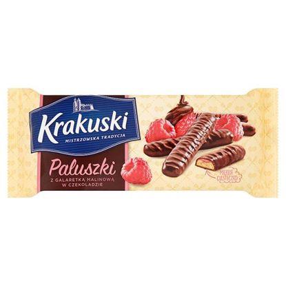 Obrazek Krakuski Paluszki z galaretką malinową w czekoladzie 144 g