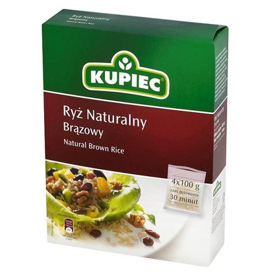 Obrazek Kupiec Ryż naturalny brązowy 400 g (4 torebki)