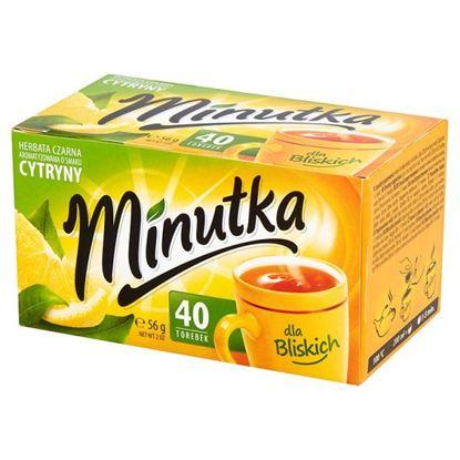 Obrazek Minutka Herbata czarna aromatyzowana o smaku cytryny 56 g (40 torebek)