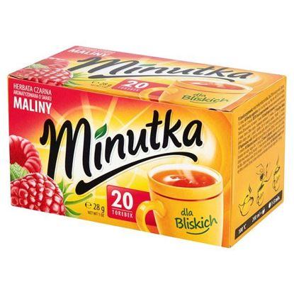 Obrazek Minutka Herbata czarna aromatyzowana o smaku maliny 28 g (20 torebek)