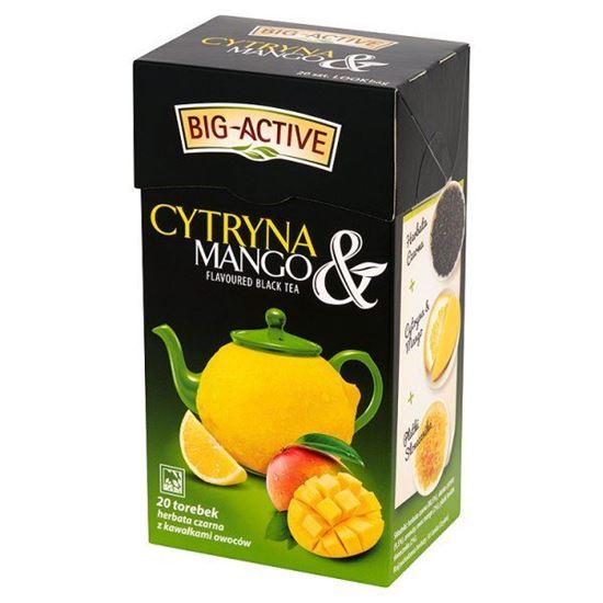 Obrazek Big-Active Cytryna & Mango Herbata czarna z kawałkami owoców 40 g (20 torebek)