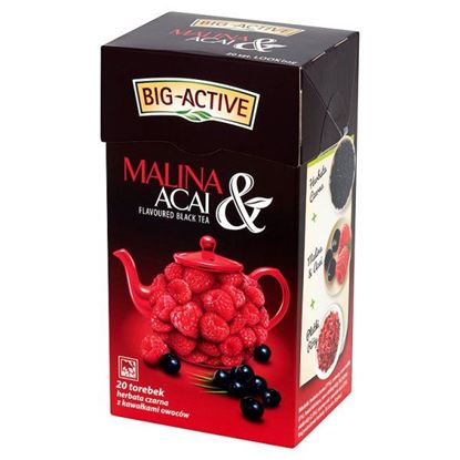Obrazek Big-Active Malina & Acai Herbata czarna z kawałkami owoców 40 g (20 torebek)