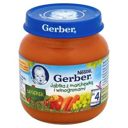 Obrazek Gerber Deserek Jabłka z marchewką i winogronami po 4 miesiącu 125 g
