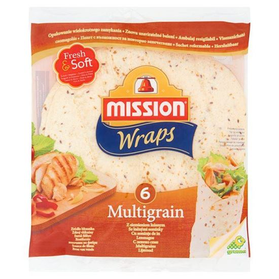 Obrazek Mission Wraps Tortilla z mąki pszennej z siemieniem lnianym 370 g (6 sztuk)