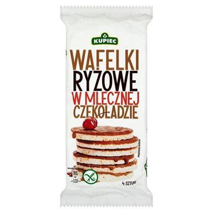 Obrazek Kupiec Wafelki ryżowe w mlecznej czekoladzie 60 g (4 sztuki)