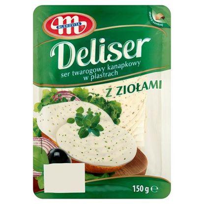 Obrazek Mlekovita Deliser Ser twarogowy kanapkowy w plastrach z ziołami 150 g