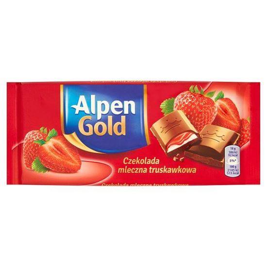 Obrazek Alpen Gold Czekolada mleczna truskawkowa 90 g