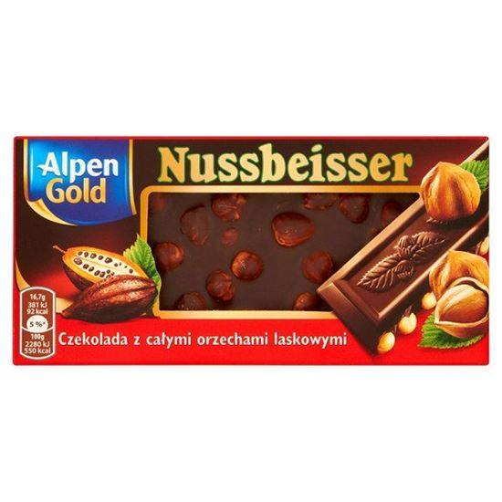 Obrazek Alpen Gold Nussbeisser Czekolada gorzka z całymi orzechami 100 g