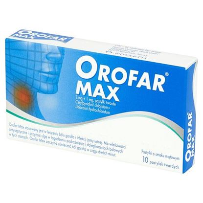 Obrazek Orofar Max 2 mg + 1 mg Pastylki twarde o smaku miętowym 10 pastylek