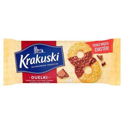 Obrazek Krakuski Duelki Herbatniki posypane cukrem z czekoladą mleczną 181 g