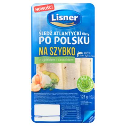 Obrazek Lisner Śledź atlantycki filety po polsku na szybko z ogórkiem i czosnkiem 125 g