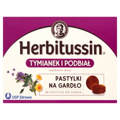 Obrazek Herbitussin Tymianek i podbiał Pastylki na gardło Suplement diety 12 pastylek
