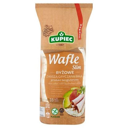 Kupiec Slim Wafle ryżowe z kaszą gryczaną białą 90 g (18 sztuk)