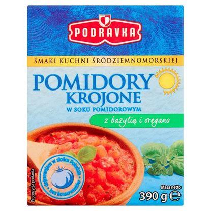 Podravka Pomidory krojone w soku pomidorowym z bazylią i oregano 390 g