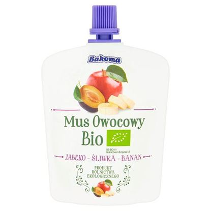 Bakoma Mus owocowy Bio jabłko-śliwka-banan 90 g