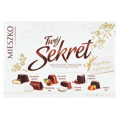 Mieszko Twój Sekret Praliny w czekoladzie mlecznej i deserowej 139 g