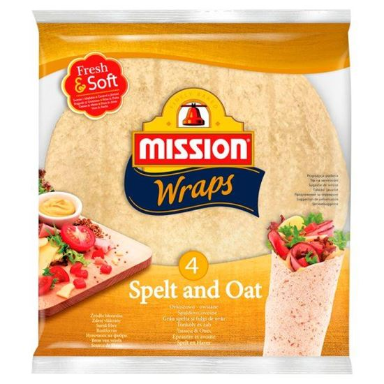 Mission Wraps Tortille z mąki pszennej orkiszowo-owsiane 245 g (4 sztuki)