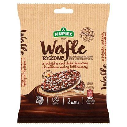 Kupiec Wafle ryżowe z belgijską czekoladą deserową i kawałkami maliny liofilizowanej 32 g (2 sztuki)