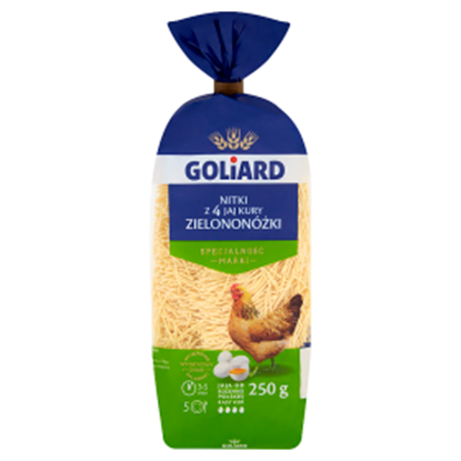 Obrazek Goliard Makaron z 4 jaj kury zielononóżki nitki 250 g