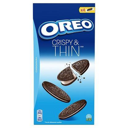 Oreo Cripsy & Thins Ciastka kakaowe z nadzieniem o smaku waniliowym 192 g (32 sztuki)