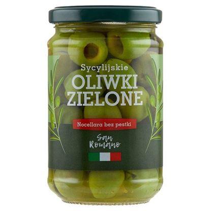 San Romano Sycylijskie oliwki zielone Nocellara bez pestki 300 g