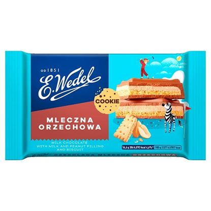 E. Wedel Cookie Czekolada mleczna z nadzieniem mleczno-orzechowym i herbatnikiem 100 g