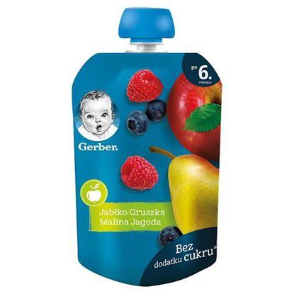 Gerber Deserek jabłko gruszka malina jagoda dla niemowląt po 6. miesiącu 90 g